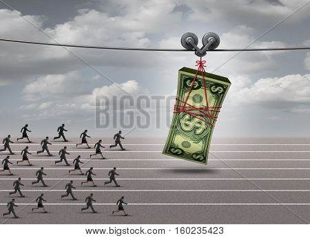 Chasing money concept and follow the profit symbol as a group of men and women running after a stack of currency as a financial incentive or business profiit metaphor with 3D illustration elements.