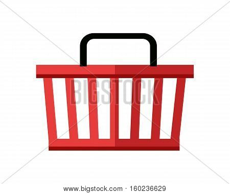 Illustration of red shopping basket. One plastic shopping basket. Shopping basket icon. Isolated object in flat design on white background. Vector illustration.