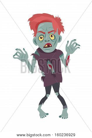 Scary zombie walking. Frightening dead man with red hair, grey skin, blood stains, bones dressed in tatter flat vector illustration isolated on white background. Horror character for Halloween concept