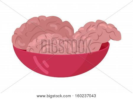 Zombies flesh treat. Fresh human brains in red bowl flat vector illustration isolated on white background. Food for horror undead monsters. For Halloween celebrating humorous concepts design