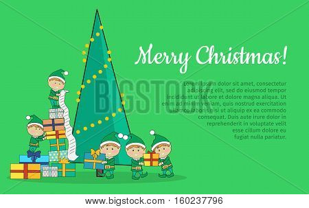 Merry Christmas web banner. Christmas elves packing presents gift boxes according to wish list. Xmas holiday tree on background. Magic eve. New year and xmas concept. Cartoon flat style. Vector