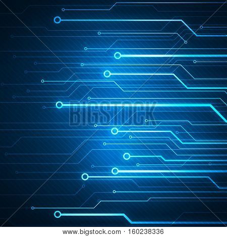 Digital concept image with circuit microchip on blue background.