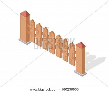 Wooden fence isolated on white. Gates and fences in flat style design. Isometric projection. Barrier for countryside yard. Wooden fence with columns. Fence made of wood icon. Vector illustration