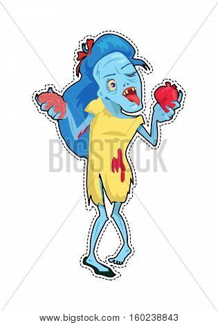 Scary zombie walking. Dead woman with blue hair, standing in pool of blood and holding human heart and brain in hands. Horror character for Halloween. Fashion patch in cartoon 80s-90s comic style