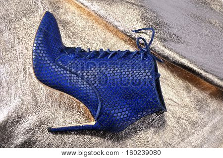 Elegant women's shoes on a piece of material from the golden skin