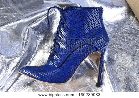 Elegant women's shoes on a piece of material from the silver skin
