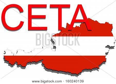 Ceta - Comprehensive Economic And Trade Agreement On White Background, Austria Map