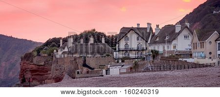 Houses with traditional thatched roofs. English Channel Coast. Sidmouth. Devon. England