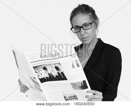 Businesswoman Reading Newspaper Article Journal Concept