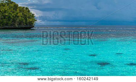 Beautiful Blue Lagoone near Kordiris Homestay, Gam Island, West Papuan, Raja Ampat, Indonesia.