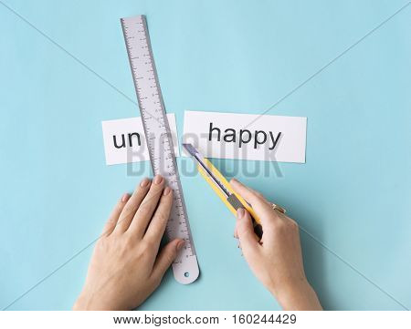 Unhappy Sadness Hand Cut Word Split Concept