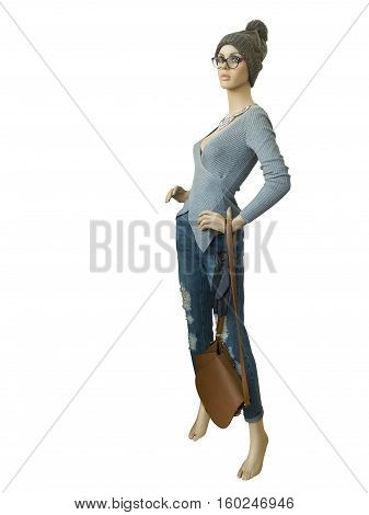 Full-length female mannequin wearing pullover and destroyed jeans isolated on white background. No brand names or copyright objects.