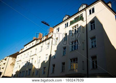old houses in munich - schwabing - blue sky
