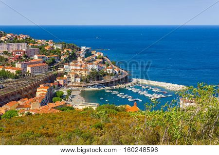 Bay of Cerbere village Mediterranean sea Vermilion coast Roussillon France