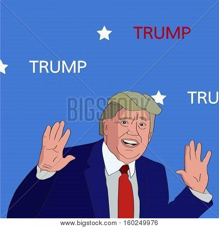 06 DEC, 2016: President Donald Trump portrait with hands up. Donald Trump cartoon character vector illustration.