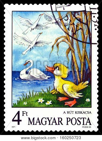STAVROPOL RUSSIA - November 30 2016: A stamp printed in Hungary show Ugly Duckling fairy tales characters circa 1987