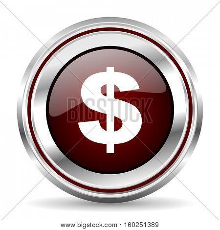 dollar icon chrome border round web button silver metallic pushbutton