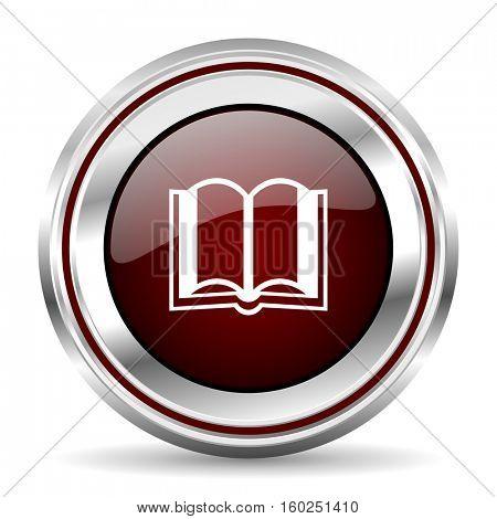 book icon chrome border round web button silver metallic pushbutton