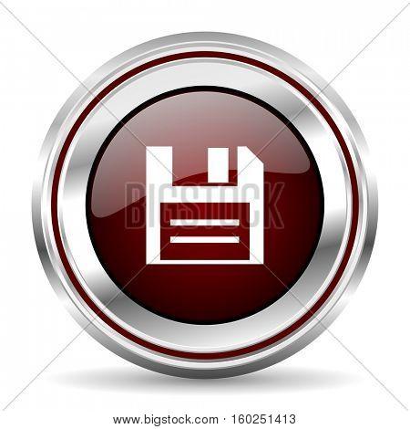 disk icon chrome border round web button silver metallic pushbutton