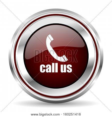 call us icon chrome border round web button silver metallic pushbutton