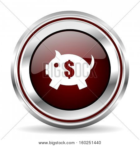 piggy bank icon chrome border round web button silver metallic pushbutton