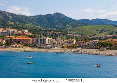 View of the beach of Banyuls-sur-Mer coastal town in the south of France Mediterranean sea Roussillon Pyrenees Orientales Vermilion coast France