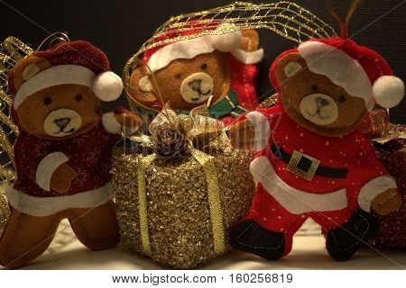 father christmas bear with his aides bears