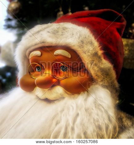 portrait of Santa Claus in the foreground