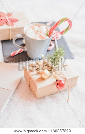 Christmas online shopping top view. Winter holidays sales