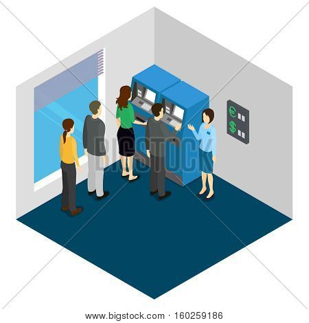 People in queue to ATM machines and banking consultant isometric design in grey blue colors vector illustration