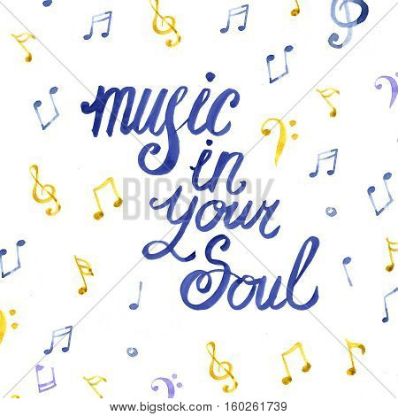 Illustration of a watercolor music lettering on white background with notes
