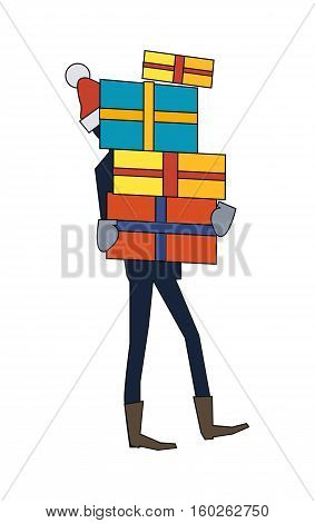 Man carrying gift boxes. Person in santas hat holds present box with overwhelming bow. New year and Christmas sale concept. Giving presents for nearest and dearest. Vector illustration in flat style