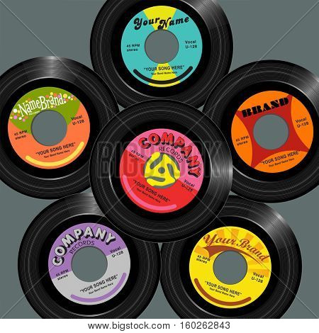Retro style 45 record label designs. easy to customize and edit to fit your project.