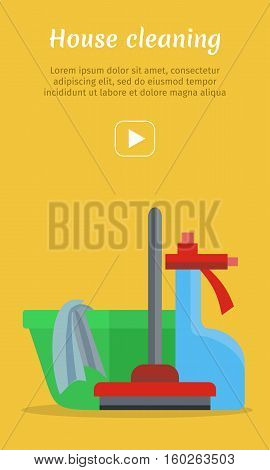 Cleaning service conceptual vector web banner. Flat style. NAME2. Illustration with play button for housekeeping companies online services, sites, video, corporate animation