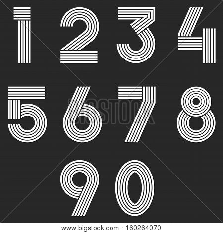 Numbers Set Hipster, Parallel Offset Thin Lines Intersection Style Idea Numerals Typography Design E