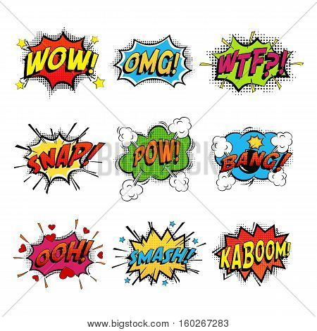 Set of comic speech bubble speech. Bomb with bang and pow cloud, wow bubble and wtf communication symbol, danger and shouting, humour speech expression, exploding splash box