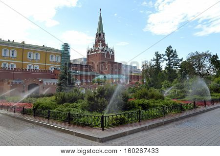 The Alexander Garden at walls of the Moscow Kremlin in the summer