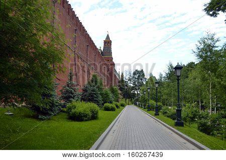 Wall of the Moscow Kremlin along the Alexander Garden