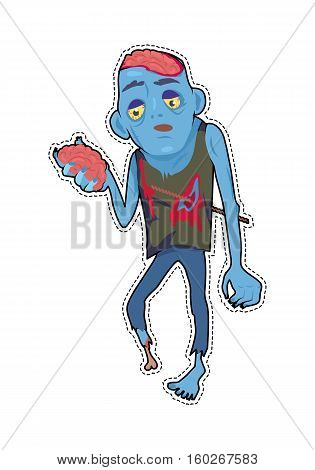 Scary zombie walking. Frightening dead man with armature in wound, blue skin, holding own brains in hand flat vector. Horror character for Halloween. Fashion patch in cartoon 80s-90s comic style
