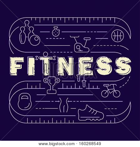 Fitness banner. Modern thin line icons set of gym equipment, sports recreation activity. Simple symbol collection. Vector logotype concept for web graphics. Fitness club logo.