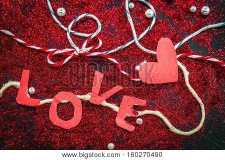 Heart Of Sequins On Black Background Valentines Day