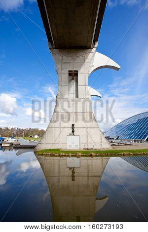 Close up Reflection of Falkirk Wheel, Scotland UK