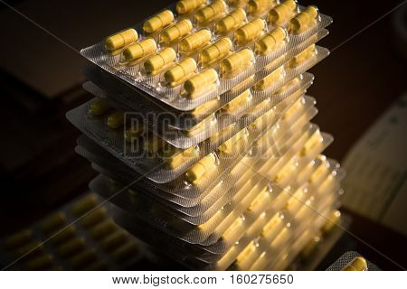 Blisters With Yellow Pharmaceutical Capsules