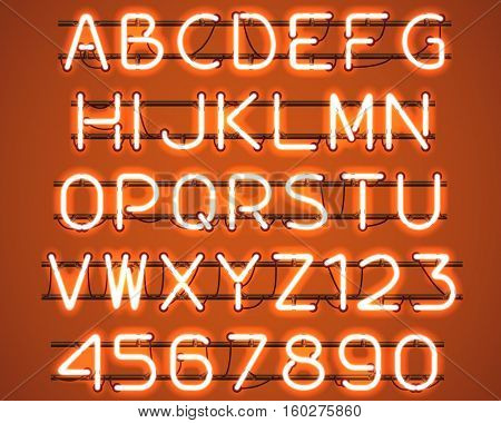 Glowing Orange Neon Alphabet with letters from A to Z and digits from 0 to 9 with wires tubes brackets and holders. Shining and glowing neon effect. Vector illustration.
