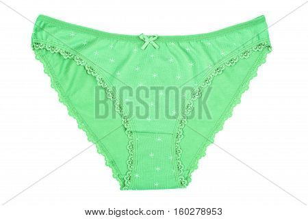 Women's Cotton Panties Flowered Isolated On White Background.