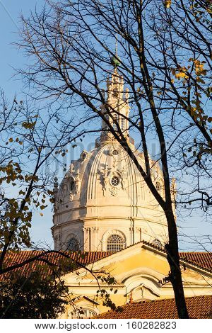 Catholic Cathedral Of Estrela In Lisbon On Autumn