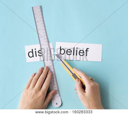 Disbelief Hand Cut Word Split Concept