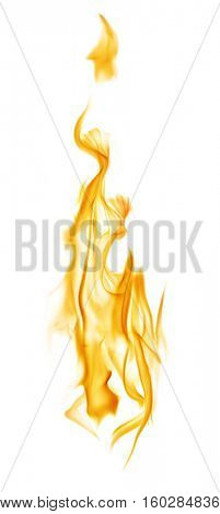 yellow flame isolated on white background