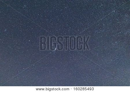 Blue Dark Night Sky With Many Stars. .constellations Cassiopeia, Andromeda