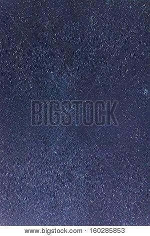 Blue Dark Night Sky With Many Stars. Taurus, Perseus, Gemini